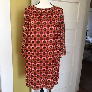 Fossil 100% Silk Ginger Shift Dress Long Sleeve S